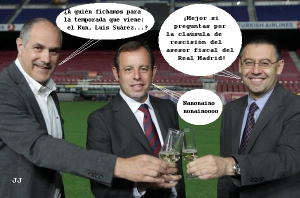 El Fútbol Club Barcelona tiene problemas con Hacienda por el fichaje de Neymar. Zubizarrreta, Rosell, Bartomeu. Humor