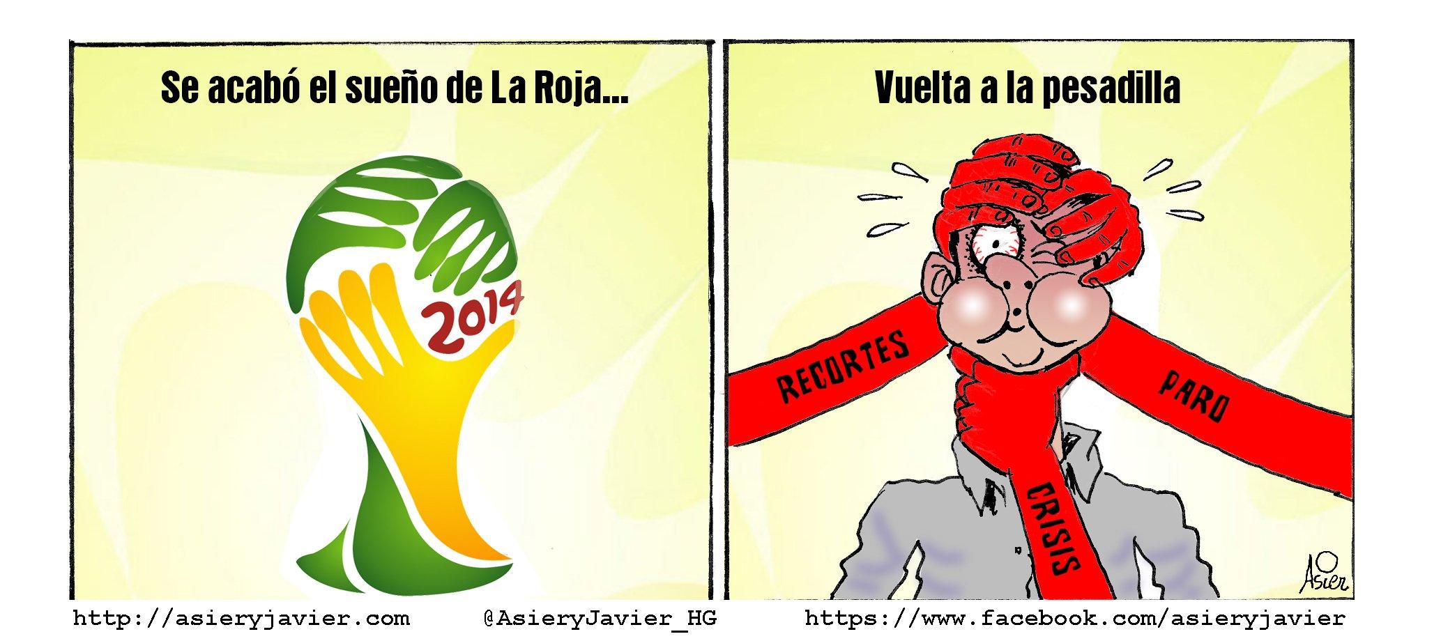 Se acabó el sueño del Mundial de Fútbol para España, vuelve la pesadilla cotidiana.
