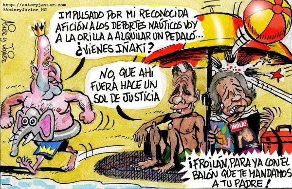 El Rey emérito, Juan Carlos, y Sofía pasan el verano en la playa. Viñeta, humor.