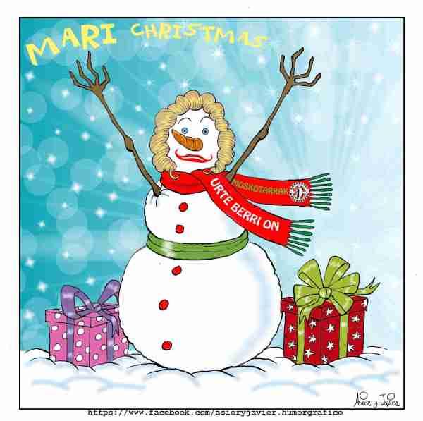 Postal y felicitación de Navidad con una Mari Jaia de invierno