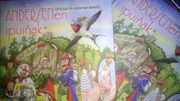 La portada del libro editado por el ayuntamiento de Urduliz y que recupera buena parte de la traducción al euskera de Bizkaia de los cuentos de Andersen por parte de Benito Otazua