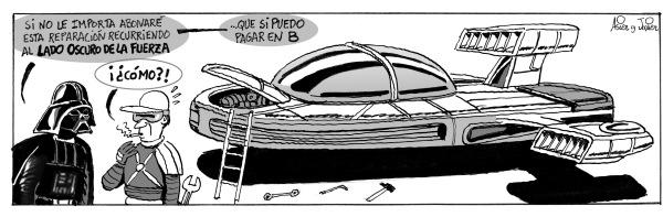 """Viñeta publicada en 2008 en """"Diario Metro"""" con el gran Darth Vader como protagonista"""