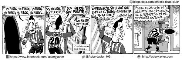 A Aduriz le espera algo más duro que jugar un partido de fútbol europeo fuera de casa: ver cómo lo hacen sus compañeros del Athletic de Bilbao