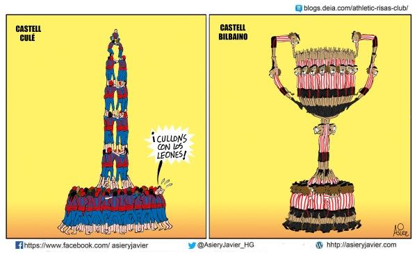 El Athletic de Bilbao va al Nou Camp dispuesto a montarle el castell copero al Fútbol Club Barcelona