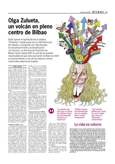 Entrevista con caricatura a Olga Zulueta en el número de mayo del periódico Bilbao