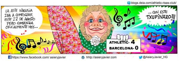 La goleada al Barcelona en San Mamés, el txupinazo con el que el Athletic da inicio a la Aste Nagusia en Bilbao