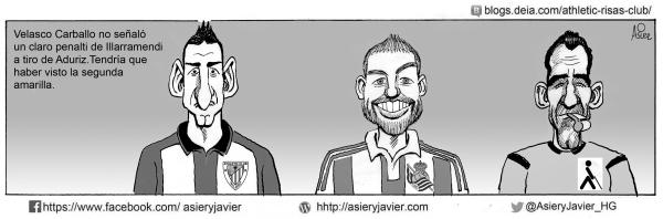 El árbitro Velasco Carballo no vio un penalti por mano de Illarramendi a tiro de Aduriz en el derby de Anoeta entre Real Sociedad de San Sebastián y Athletic de Bilbao