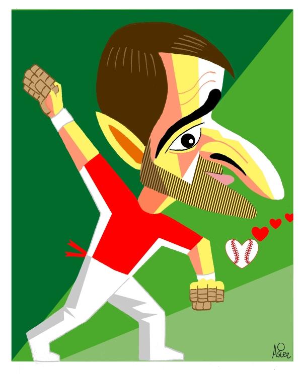 Caricatura del pelotari manista profesional vizcaíno, Pablo Berasaluze