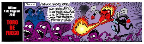 El entrenador del Athletic de Bilbao, disgustado por el juego de su equipo en el primer partido de Liga en Gijón, que coincidió con Aste Nagusia