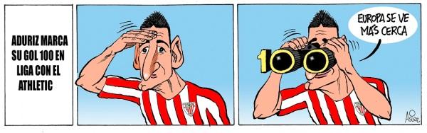 Aduriz se hizo centenario en Liga ante Osasuna